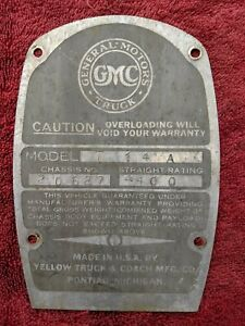 1937 Gmc 1 2 Ton Pickup Truck T14 Original Firewall Mounted Data Plate