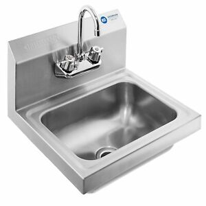 Gridmann Commercial Nsf Stainlesssteel Sink Wall Mount Hand W faucet Gr13 serv1