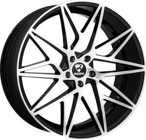 22 Inch 22x10 Ravetti M5 Black Machined Wheels Rims 5x115 25