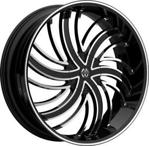 22 Inch 22x8 5 Massiv Tsunami Black Machined Wheels Rims 5x112 38