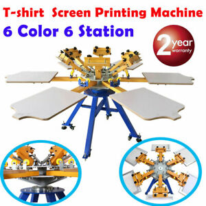 6 Color 6 Station Silk Screen Printing Machine T shirt Press Printer Carouse