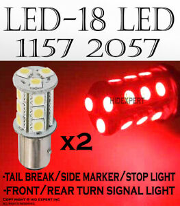 Led 1157 2057 7528 18w Red Replace For Front Turn Signal Light Halogen Bulbs 14n