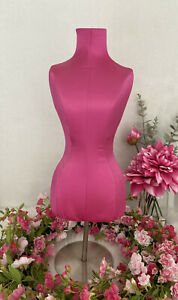 Pink Bust Form Necklace Jewelry Display Stand Holder Satin Organizer 21 5 Tall