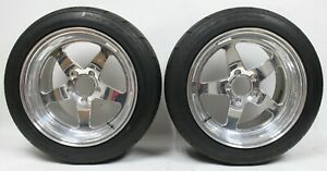 2006 2013 C6 Corvette Z06 Rear 17x12 Chrome Weld S71 Wheels Rims W Tires Used