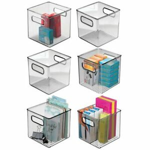Mdesign Plastic Storage Desk Organizer Bin For Home Office 6 Pack Smoke Gray