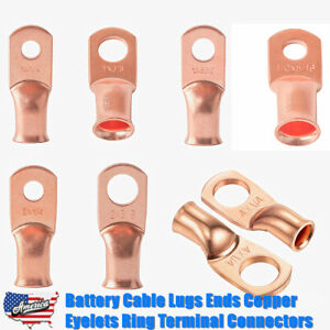 Heavy Duty Cable Lugs Battery Cable Ends Copper Eyelets Ring Terminal Connectors