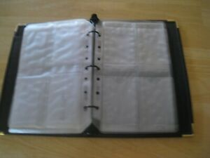 Black Leather 3 Ring Binder Business Card Baseball Card Sticker 14 Pgs 112 Cards
