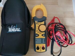 Ideal 61 744 600 Amp Clamp Meter Voltage Indicator Hook Tip Auto Power With Case