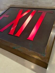 Vintage Industrial Steam Punk Lighted Exit Sign Copper Casing With Glass Panel
