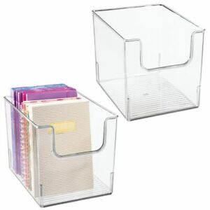 Mdesign Plastic Home Office Storage Bin Container Desk Organizer 2 Pack Clear
