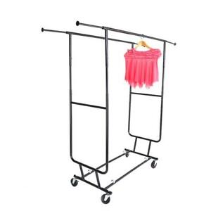 Clothing Garment Rack 2tier Heavy Duty Pants Rolling Trolley Clothes Hanging Rod