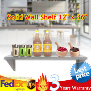 Stainless Steel 12 x36 Commercial Kitchen Wall Shelf Restaurant Shelving Silver