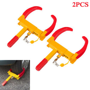 2pcs Wheel Lock Clamp Boot Tire Claw Trailer Auto Car Truck Anti Theft Towing