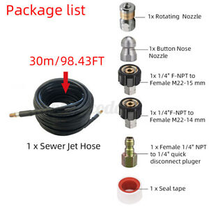 Us 30m 1 4 M npt Hose Sewer Line And Drain Jetter Kit W sewer