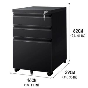 3 Drawers Mobile Cabinet Home Office Filing Cabinet Storage Cabinet With Lock