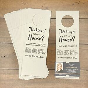 Real Estate Agent Door Hanger Marketing Business Card Thinking Of Selling