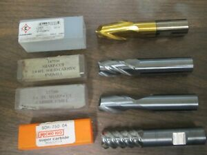 Lot Of 4 Assorted Endmill