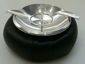 Hotspur Round Sterling Cigar Ash Tray On A Black Leather Cushion