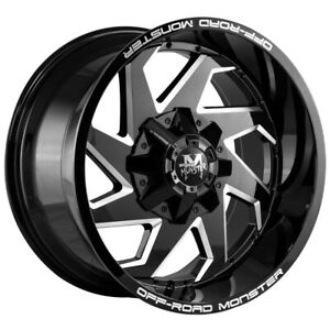 4 Offroad Monster M09 20x10 6x135 6x5 5 12mm Black Milled Wheels Rims 20 Inch