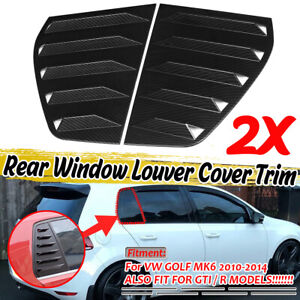 Carbon Look Window Louver Rear Side Vent Cover For Vw Golf 6 Mk6 Gti R