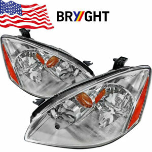 For 2002 2004 Nissan Altima Chrome Clear Headlights Headlamps Left Right Set