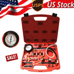 0 140psi Fuel Injection Pump Pressure Tester Gauge Tool Kits For Cars Trucks Us