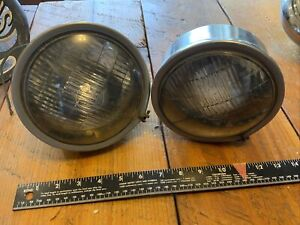 Vintage Auto Per Lux Stainless 200t Fog Driving Light Lamp Pair Of Lights