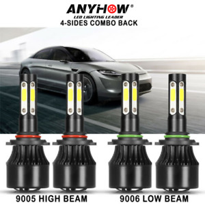 4side 9005 9006 Led Combo Headlight Kit Cree Cob 440w Light Bulbs High Low Beam