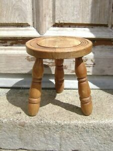 Vintage French 3 Legged Stool Foot Stool Plant Stand