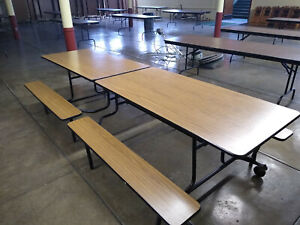Cafeteria Table 10 Long Fold For Storage With Wheels