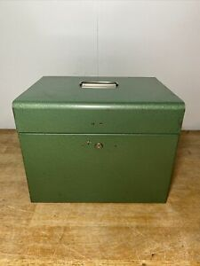 Vintage Metal File Box Industrial Green Portable 13 X 10 X 10 no Key