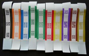 100 Mixed 25 To 10 000 Cash Money Self sealing Straps Currency Bands
