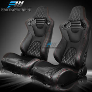 Adjust Universal Racing Seat Red Stitch Black Pu carbon Leather Pair 2 Dual