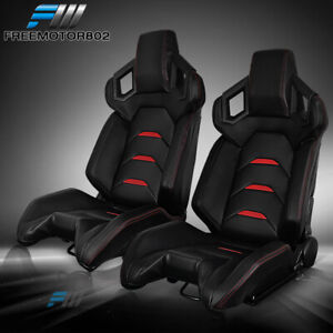 Adjustable Universal 2 Racing Bucket Seats Black Pu 2 Dual Sliders