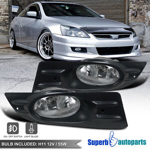 For 2006 2007 Honda Accord Coupe Driving Fog Lights Bumper W H11 Bulb Switch