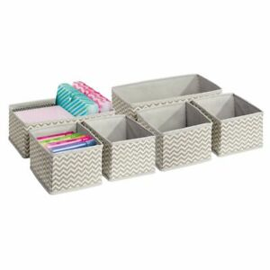 Mdesign Fabric Home Office Desk Drawer Storage Organizer Set Of 6 Taupe