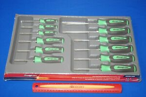New Snap On 12 Piece Green Soft Grip Instinct Combo Screwdriver And Torx Set