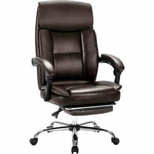 Adjustable Swivel Casual Brown Bonded Leather Executive Office Chair W Footrest