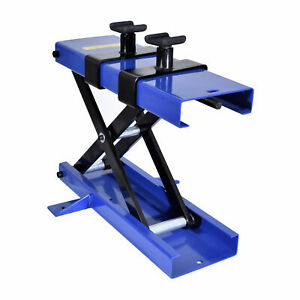 Wide 1100 Lb Red Motorcycle Scooter Crank Stand Scissor Lift Jack Atv Dirt