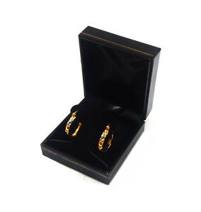 12 Hoop Or Post Earring Boxes Black Classic Leatherette Jewelry Display Gift Box
