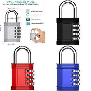 Combination Padlock 4 Digit Resettable Locker School Weatherproof Outdoor Locks
