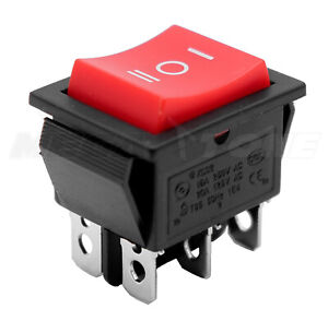 1 Pc Dpdt On off on Rocker Switch Red Button T85 Kcd2 20a 125vac Usa Seller