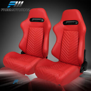 Adjustable Universal Racing Bucket Seats Red Pu Pair 2 Dual Sliders