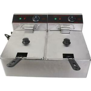 5000 watt Electric Countertop Deep Fryer Dual Tank Commercial Restaurant Steel