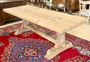 Antique Bleached Solid French Oak Dining Harvest Farmhouse Trestle Table