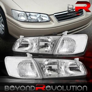For 2000 2001 Toyota Camry Chrome Headlamps Clear Signal Bumper Corner Lights