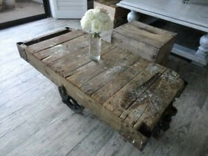 Industrial Lineberry Factory Cart Coffee Table Refinished
