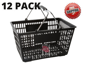 12 Pack Black Plastic Grocery Convenience Store Shopping Basket Tote