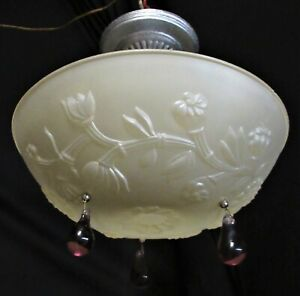 Vtg 3 Chain Victorian Glass Shade Ceiling Light Chandelier Fixture Crystals