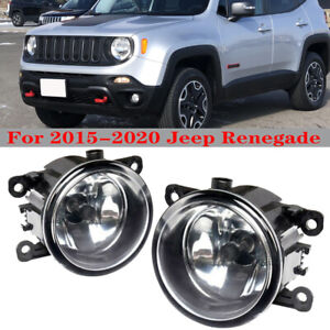 Set For 2015 2018 Jeep Renegade Fog Light Driving Lamp W light Bulbs Clear Lens
